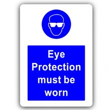 Eye Protection Must Be Worn-Aluminium Metal Sign-150mmx100mm-Door,Notice,Goggles,Health,Safety,Work